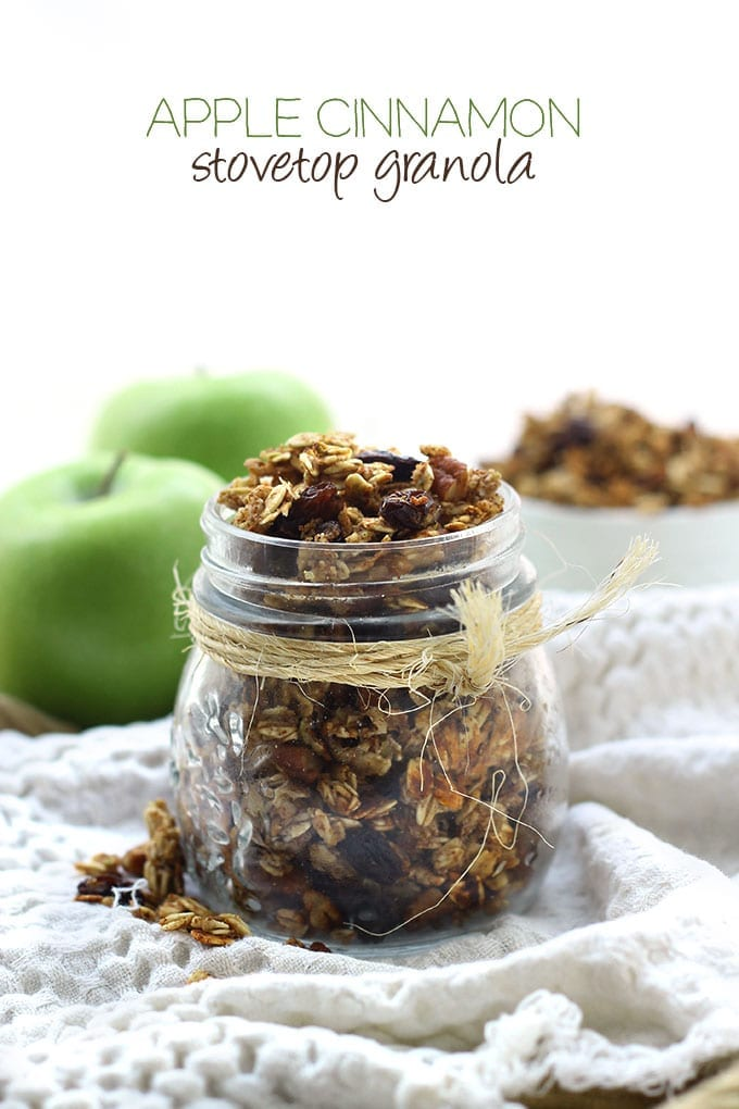 Apple Cinnamon Stovetop Granola - a hearty and healthy granola recipe made on the stovetop that's ready in 15 minutes or less! Perfect for an easy morning breakfast.