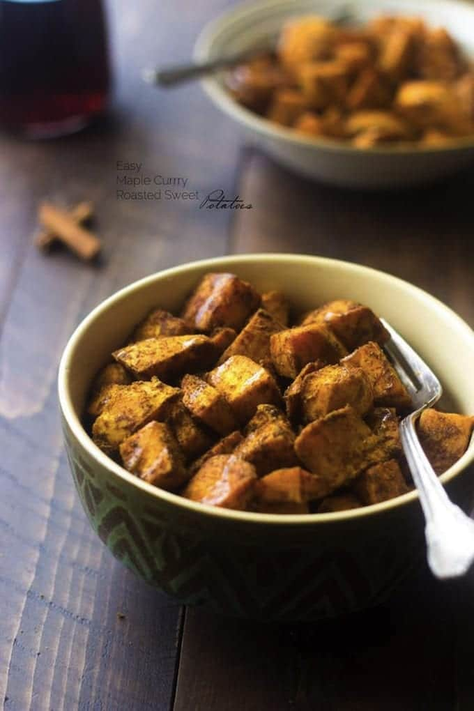 Maple Curry Roasted Sweet Potatoes + A Healthy Thanksgiving Dinner Menu!