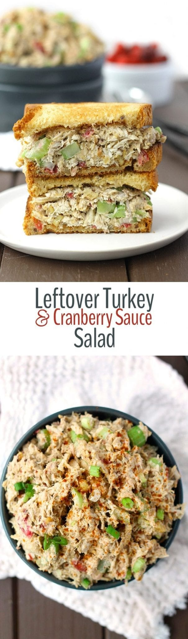 Not sure what to do with all of those Thanksgiving leftovers? Repurpose them in this Leftover Turkey and Cranberry Sauce Salad! It's delicious and a healthy alternative for the days after Thanksgiving!