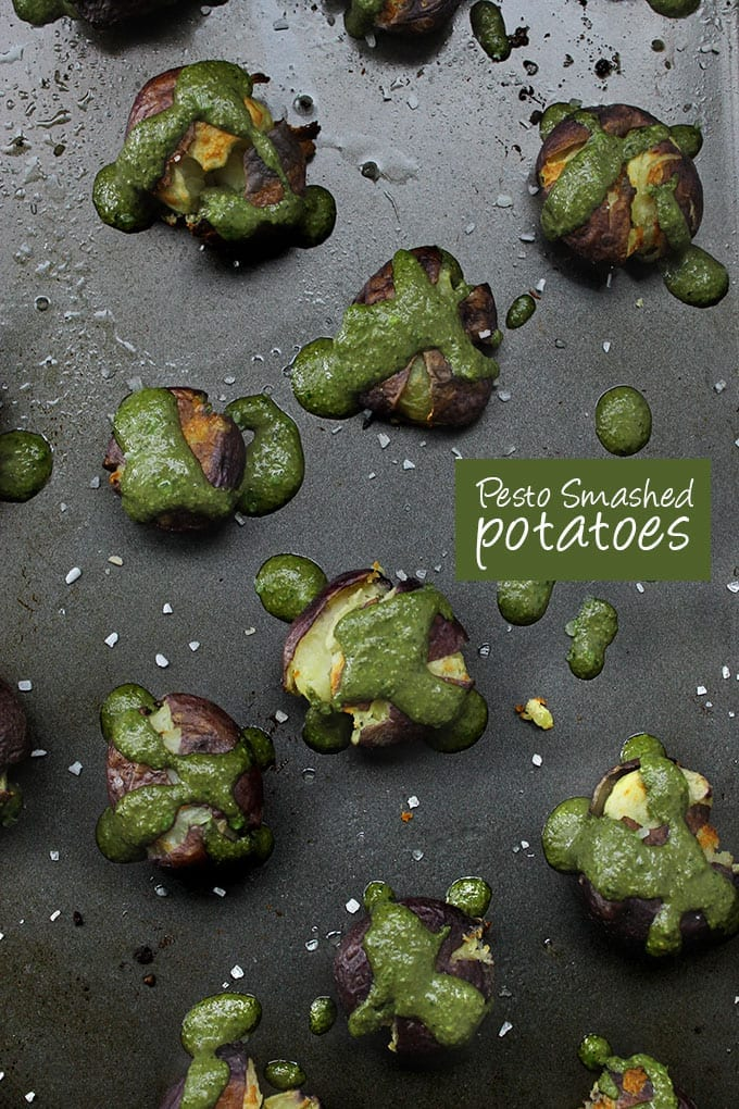 Grab your potato mashers cause these pesto smashed potatoes will have you craving those spuds all day long. Your new favorite potato recipe!
