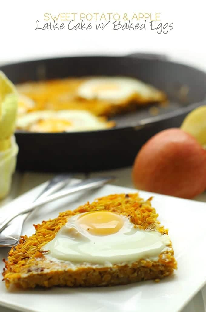 Sweet Potato and Apple Latke Cake with Baked Eggs - a fun and healthy twist on a classic Hanukkah recipe with the additional protein boost of baked eggs! It's completely grain and gluten-free too!