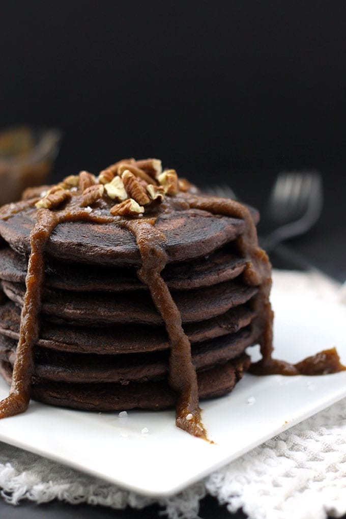 Paleo Mexican Hot Chocolate Pancakes made from almond meal, coconut flour and topped with a delicious salted dulce de leche made from almond milk!