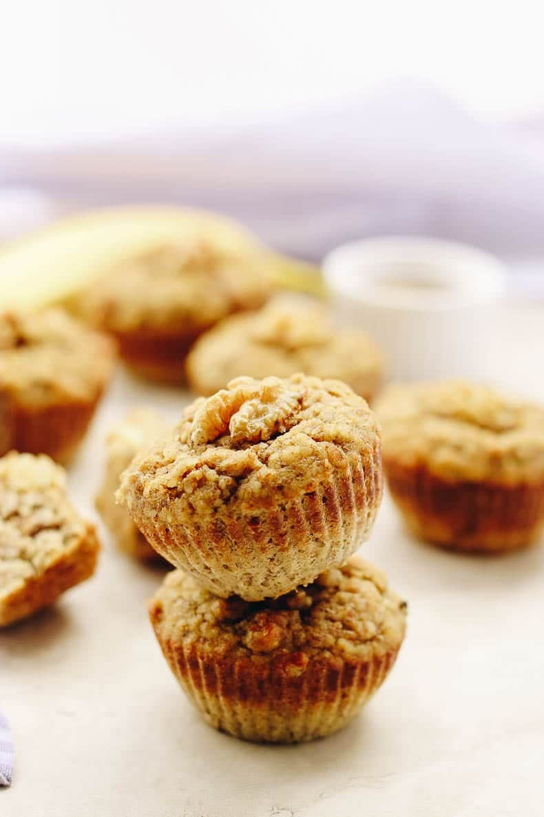 These paleo banana nut muffins are made #glutenfree and #paleo with almond meal and coconut flour as well as the delicious sweetness straight from bananas!