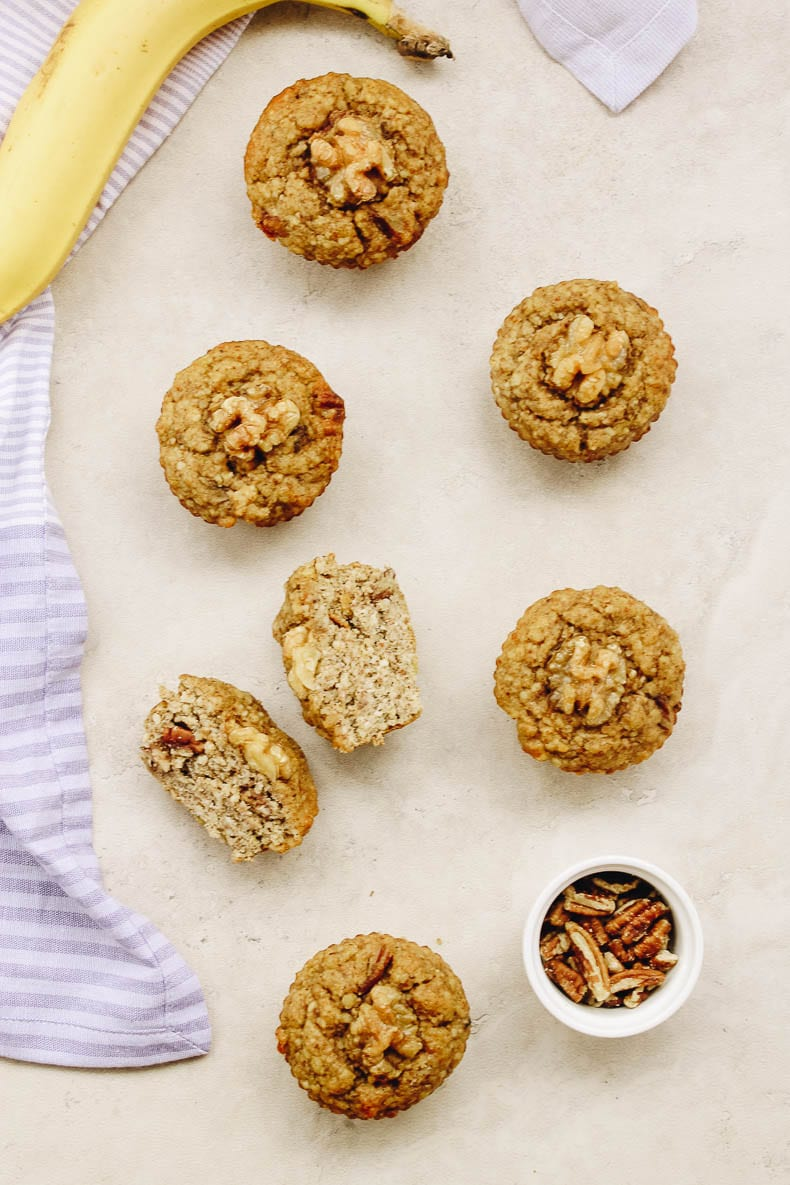 Delicious paleo banana muffins sweetened with ripe bananas and honey and kept #grainfree with coconut and almond flours