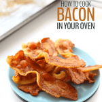 No need to worry about clean up or grease splatter with this easy tutorial on how to cook bacon in your oven. Just preheat, line up the bacon and bake and you have crispy bacon in under 15 minutes!