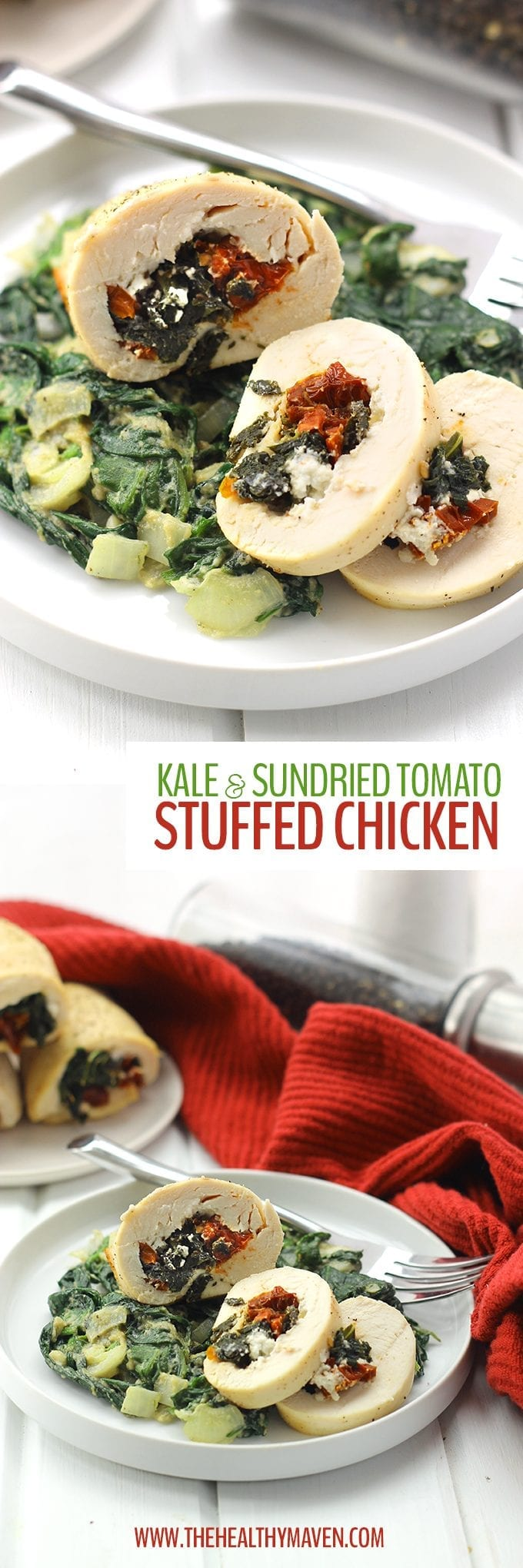 A simple yet flavorful chicken recipe made with just 4 ingredients. This Kale and Sun-Dried Tomato Stuffed Chicken is a hit for an easy weeknight dinner or a fancy weekend dinner party.