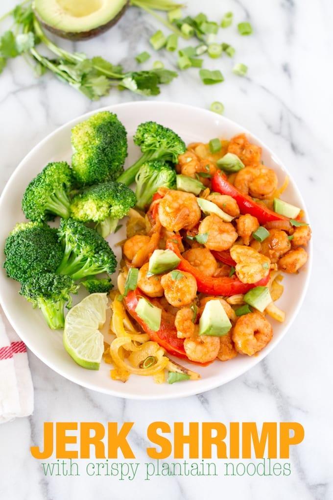 Jerk Shrimp with Crispy Plantain Noodles