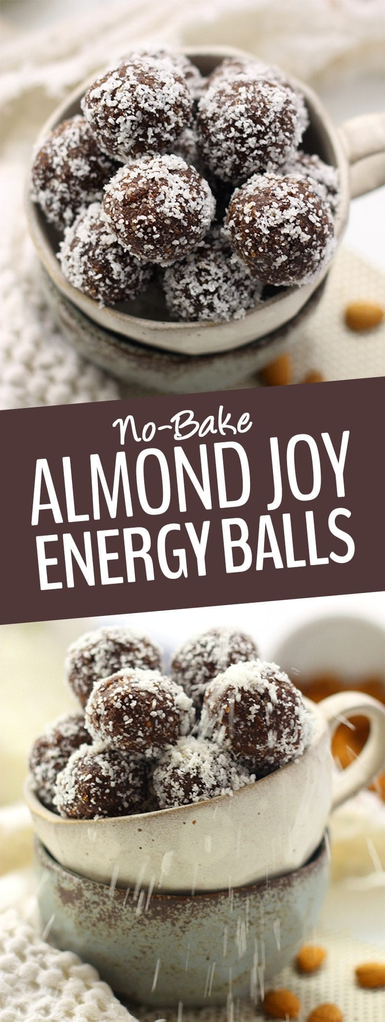 These No-Bake Almond Joy Energy Balls are inspired by the ever popular Almond Joy chocolate bar but without all the gunk! They pack a serious nutrition punch and are also gluten-free, vegan AND paleo #energyballs #almondjoyenergyballs #veganenergyballs