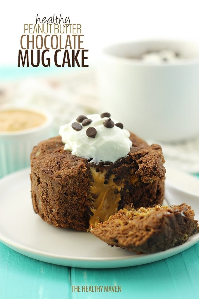 Dessert is ready in under 5 minutes with this Healthy Peanut Butter Chocolate Mug Cake! It's completely grain-free, high in protein and free of refined-sugars with creamy peanut butter right in the center.