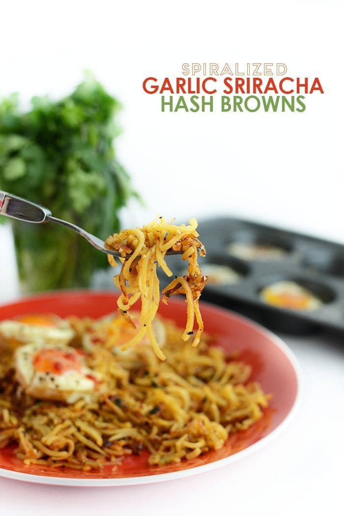 Garlic Sriracha Hashbrowns with Baked Eggs