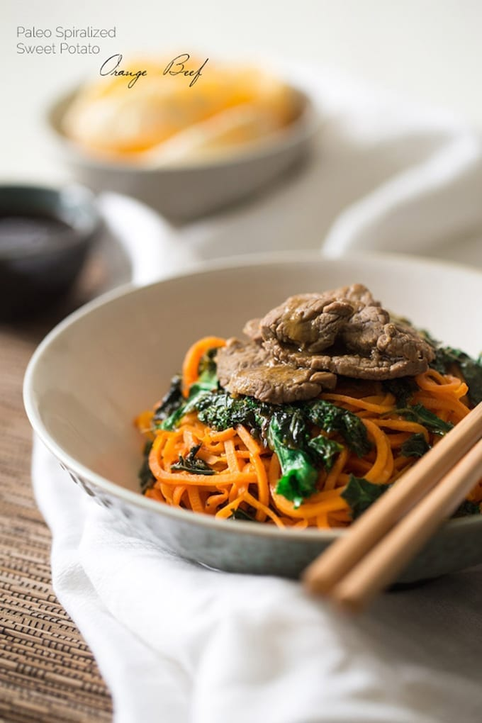 Kale and Orange Beef with Sweet Potato Noodles