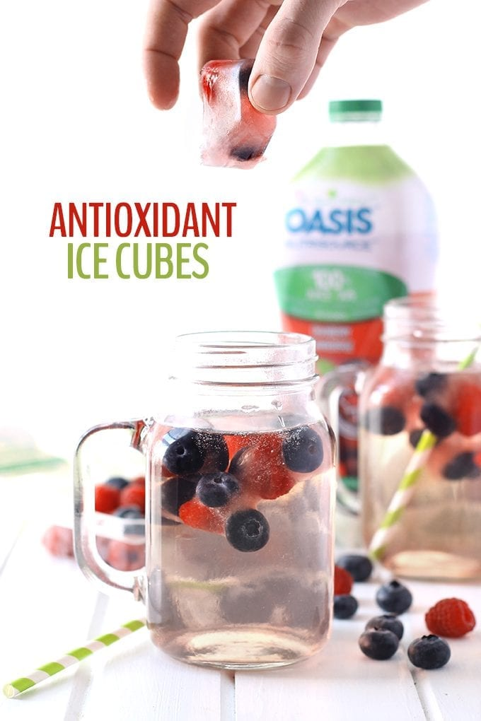 Spruce up your drinks with these sweet and refreshing Antioxidant Ice Cubes. They're packed full of antioxidants and flavor from berries and green tea. You'll never go back to ordinary ice cubes again!