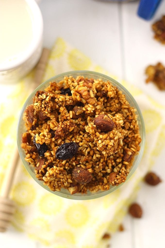 Yes! You can totally make granola with steel-cut oats! This Honey Nut Steel-Cut Granola is packed full of flavor and healthy nuts and will make you forget all about rolled oats in your granola!
