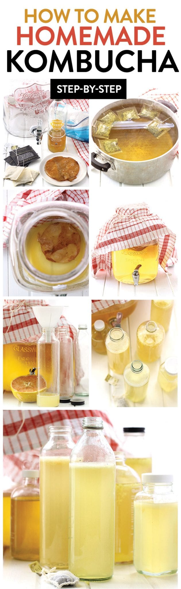 Learn how to make kombucha with this step-by-step tutorial teaching you how to make your own kombucha recipe - two variations included! #howto #kombucha