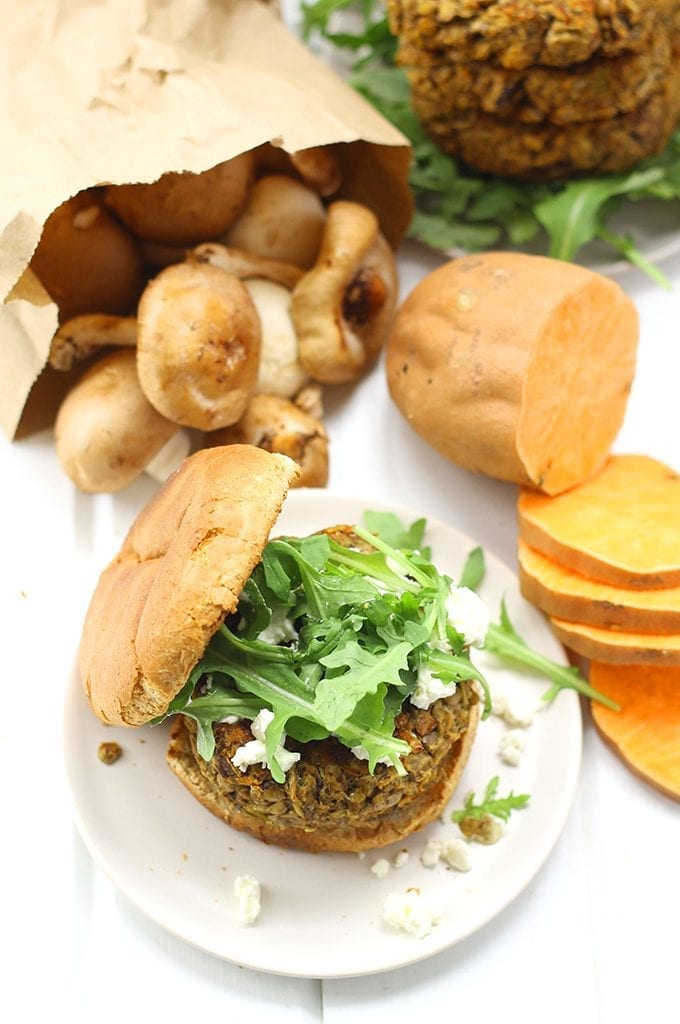 Quick and easy Lentil and Mushroom Veggie Burgers for a delicious recipe packed full of veggies and protein. It also makes a tasty vegetarian dinner for the whole family!