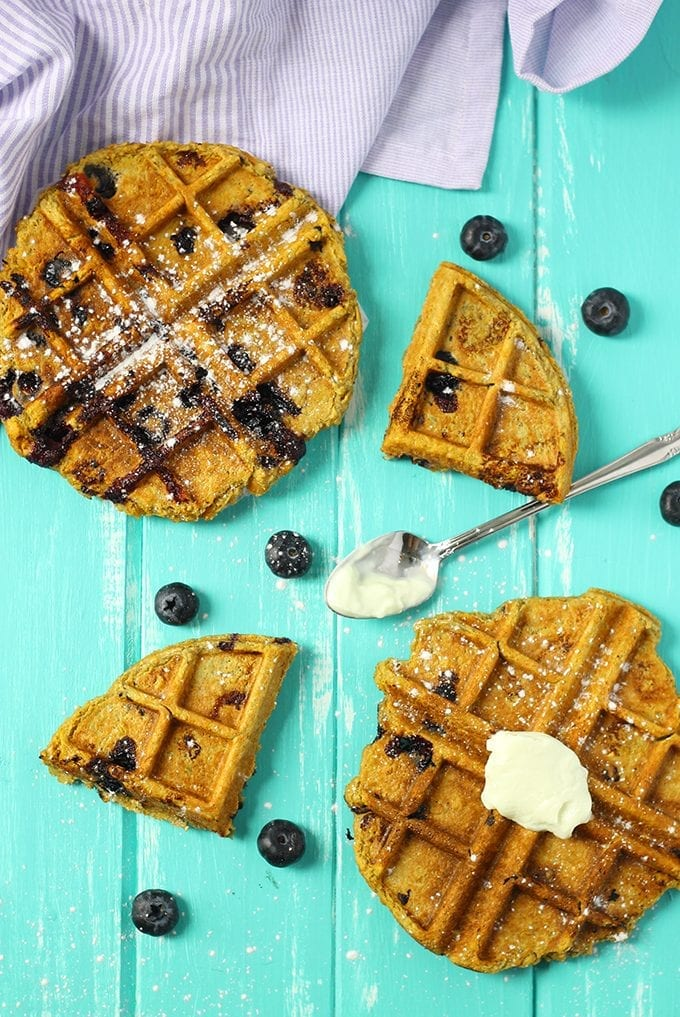 These Sweet Potato Blueberry Waffles make the perfect breakfast for any season! With the freshness of blueberries and sweet and heartiness of sweet potatoes, you'll be eating this healthy, gluten-free waffle recipe year round!