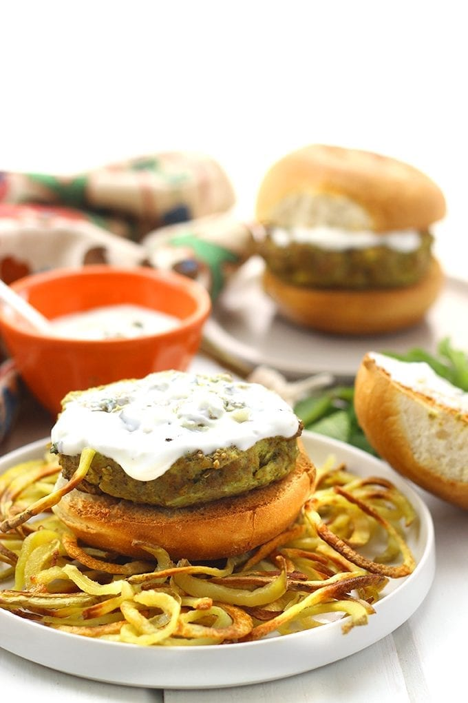 Spiced Moroccan Lamb Burgers with Mint Yogurt Sauce that make a great healthy meal or BBQ for family and friends. Enjoy this recipe from the grill or even your stove-top.