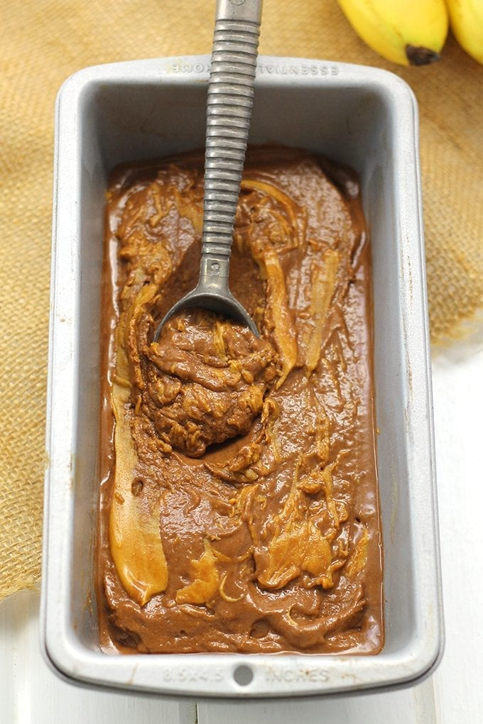 Healthy Peanut Butter Chocolate Banana Soft Serve Ice Cream. It's made with just 3 simple ingredients and is ready in minutes! It's also gluten-free, vegan and paleo. Ice cream just got a healthy makeover!