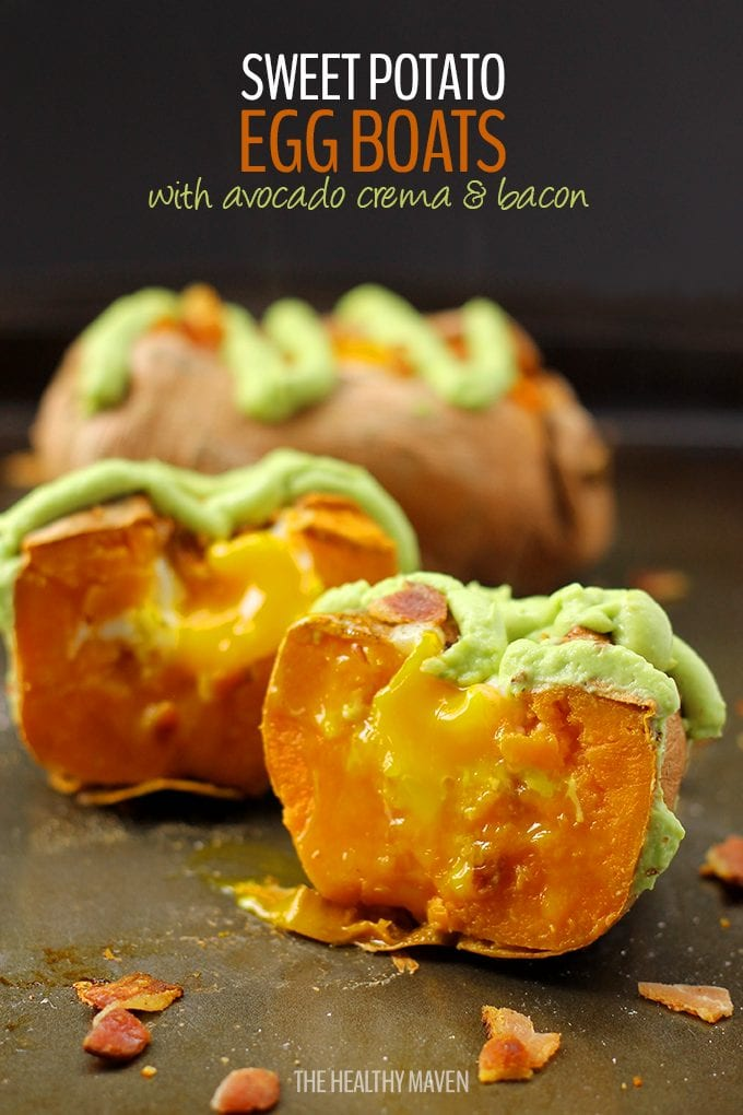 The original Sweet Potato Egg Boats with Avocado Crema and Bacon. A simple and healthy baked breakfast or lunch packed full of flavor and nutrition. It will be love at first bite.