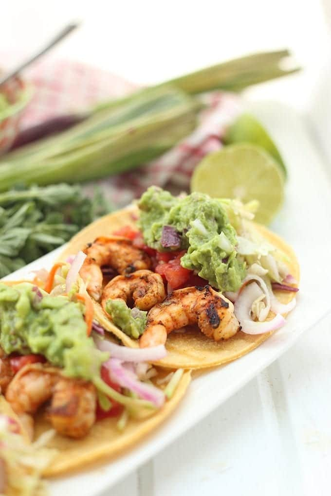 Spicy Grilled Shrimp Tacos With All The Fixins The
