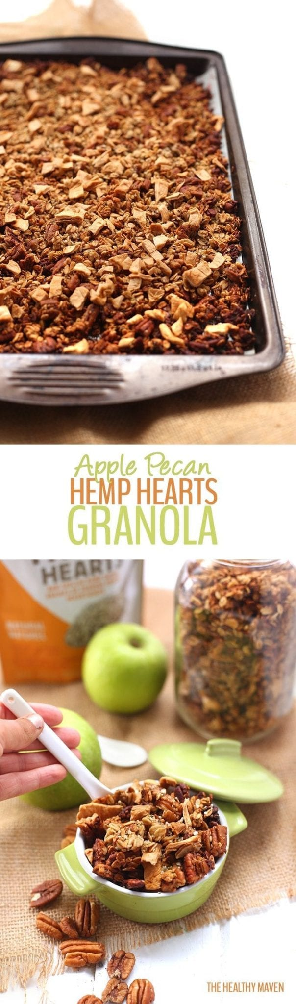 An easy fall breakfast recipe for Apple Pecan Hemp Hearts Granola. Packed-full of healthy ingredients like whole-grain rolled oats, pecans and hemp hearts this granola will keep you full all morning long!