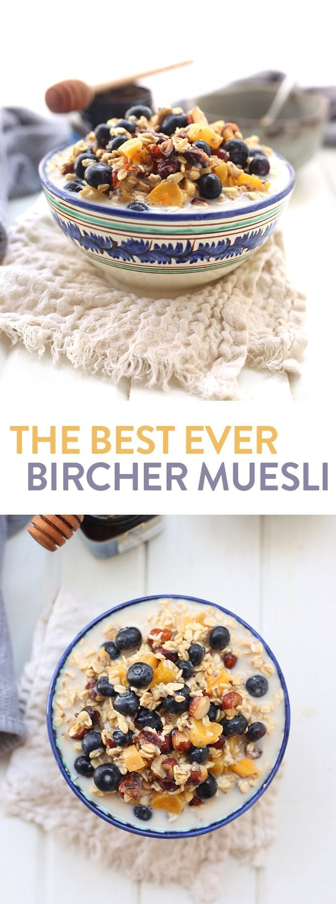 If overnight oats and cereal met and had a baby it would be called Bircher Muesli! This healthy breakfast recipe made with rolled oats, dried fruit, nuts and berries is the ultimate recipe for the most important meal of the day! #birchermuesli #healthybreakfast