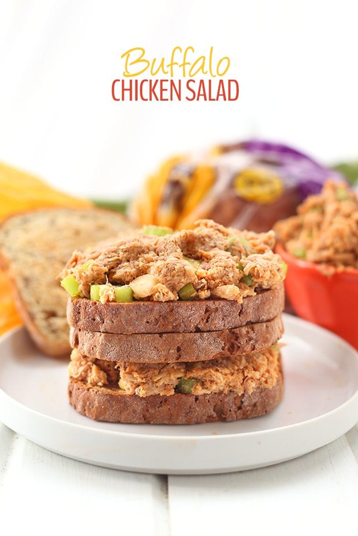 A simple, easy and healthy lunch recipe made with organic shredded chicken, celery and a zesty paleo buffalo sauce. Perfect in a sandwich or on a celery log, this salad is loved by kids and adults alike!