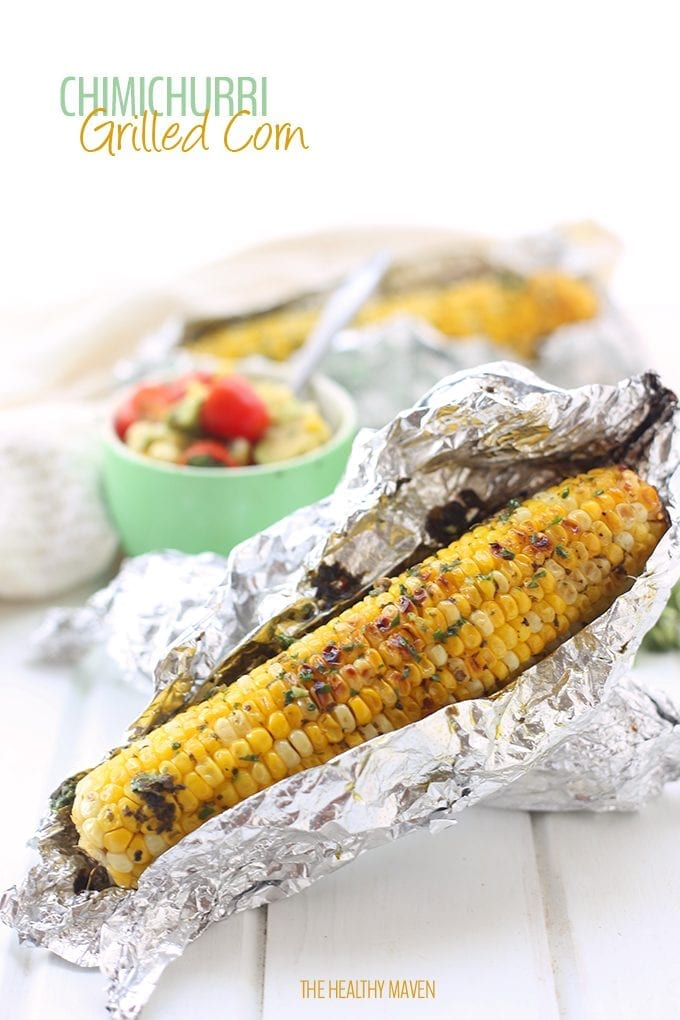 If you're looking for a way to spice up your standard summer corn, look no further than this chimichurri grilled corn recipe! It's simple to make, made with fresh herbs and corn on the cob and the perfect side for your next barbecue!