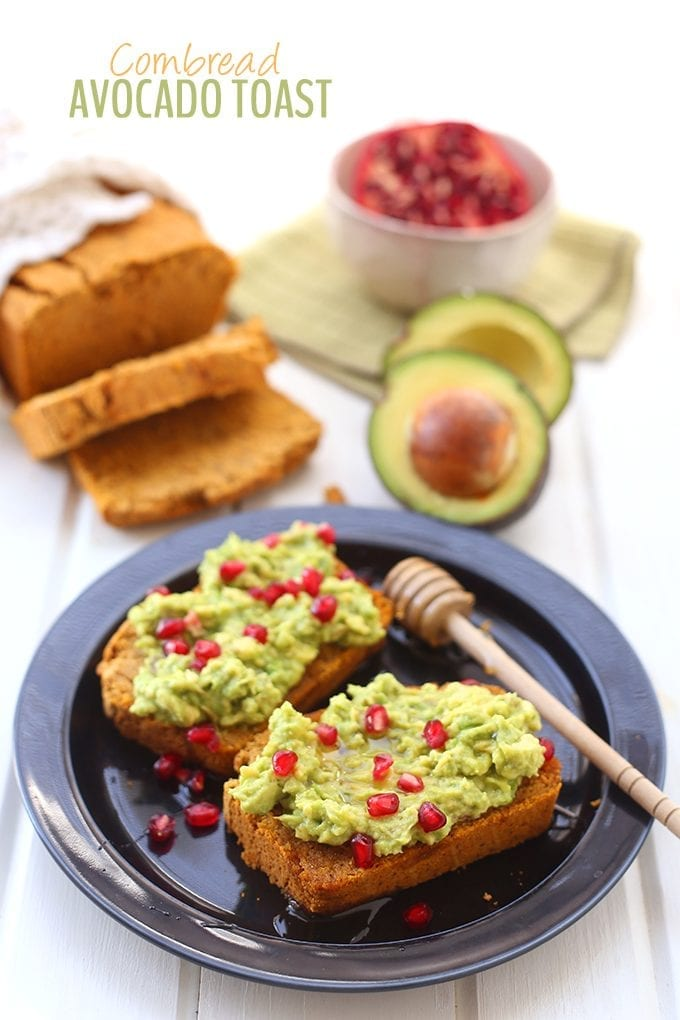 Fresh cornbread topped with mashed avocado, honey and pomegranate seeds make this Cornbread Avocado Toast recipe a delightful snack or breakfast for Fall. It also makes a great appetizer for Thanksgiving!