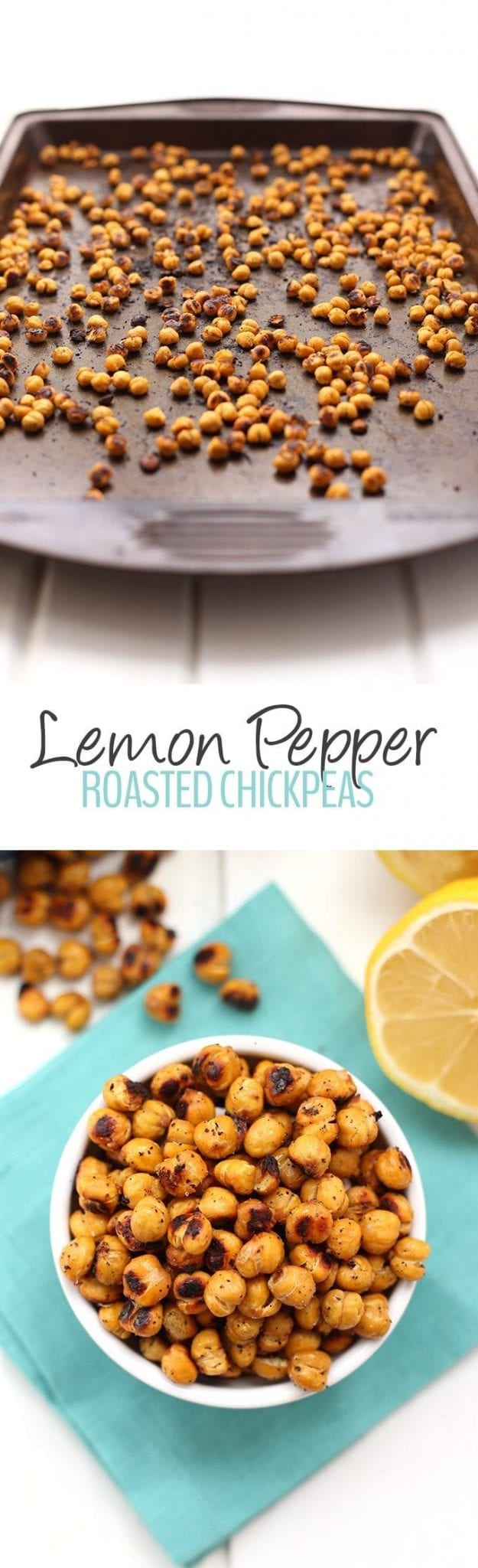 Swap out those bags of chips for these crunchy and zesty Lemon Pepper Roasted Chickpeas. They make the perfect snack option or salad or soup topper for a bit of extra crunch! Just 5 ingredients and you're ready to go.