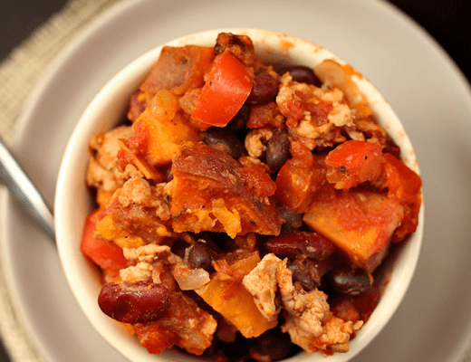 Sweet Potato Turkey Chili for a quick and easy weeknight meal packed full of nutrition and flavor #turkeychili #chili #sweetpotatochili
