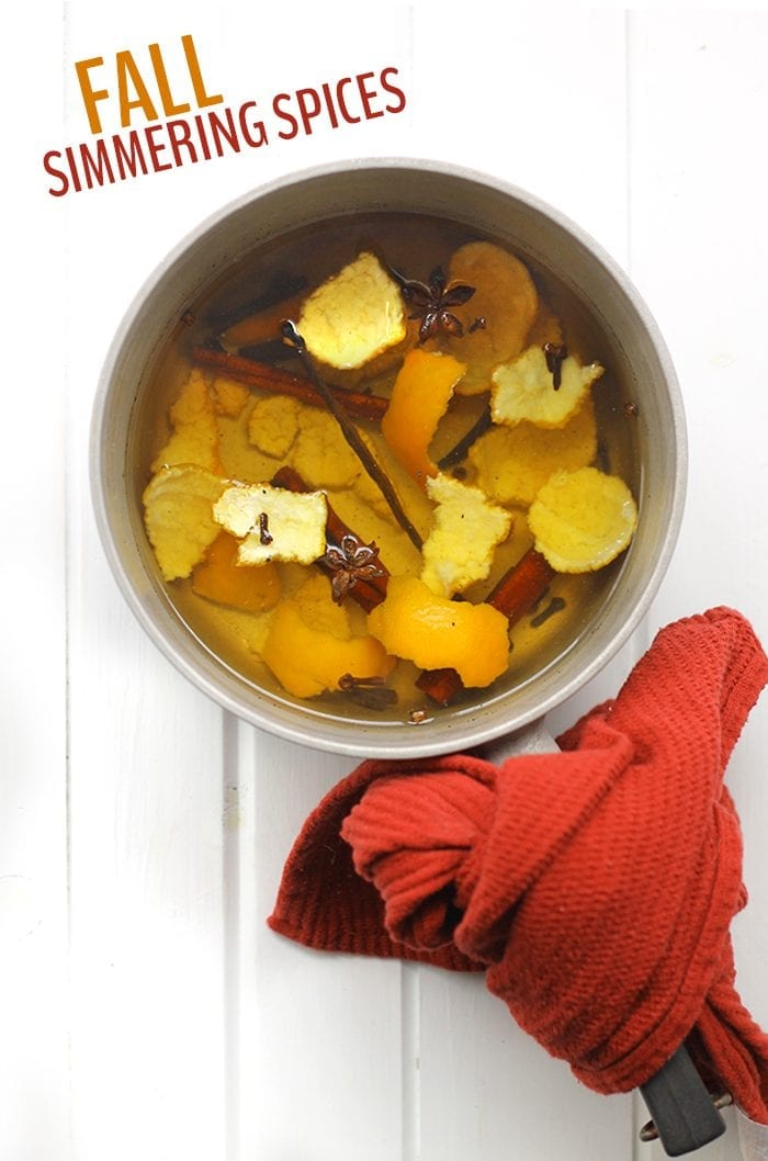 Want your house to smell amazing all season long? Throw on a pot of these Fall Simmering Spices and all your neighbors will come running over to see what's cooking! All you need are some orange peels, vanilla beans and cinnamon sticks!