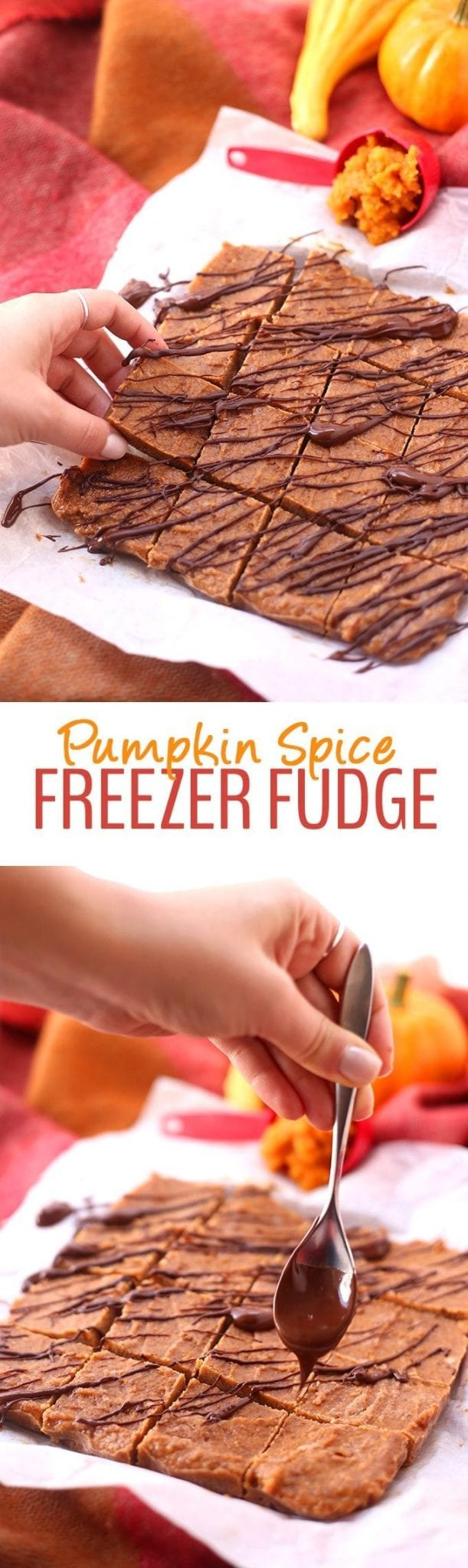 Healthy Pumpkin Spice Freezer Fudge made with just 5-Ingredients! Free of refined sugar, dairy and gluten, this healthy dessert recipe will make you fall in love with fall.