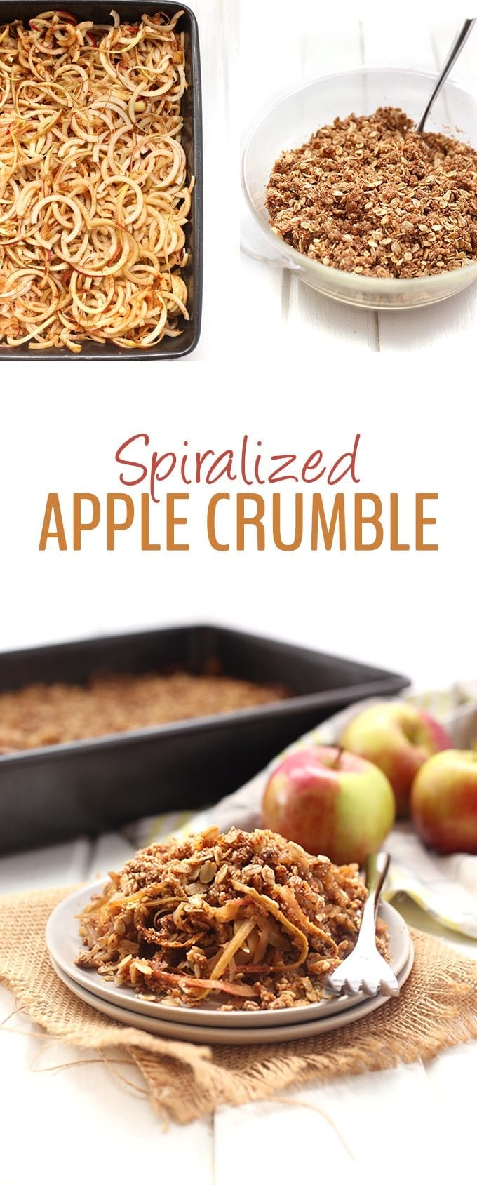 Grab your spiralizer because it's time to whip up this healthy apple crumble! Made with apple noodles and healthy ingredients like coconut sugar and oil, you'll never make another apple crumble again #spiralizedapplecrumble #applecrumble #healthy