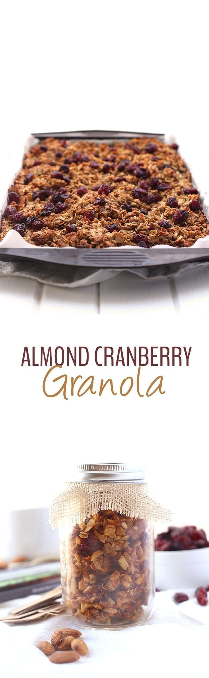 A simple and delicious recipe for Almond Cranberry Granola that will make you wonder why you've never tried this combination before! Make a big batch for yourself or store away in jars as a gift for the holidays!