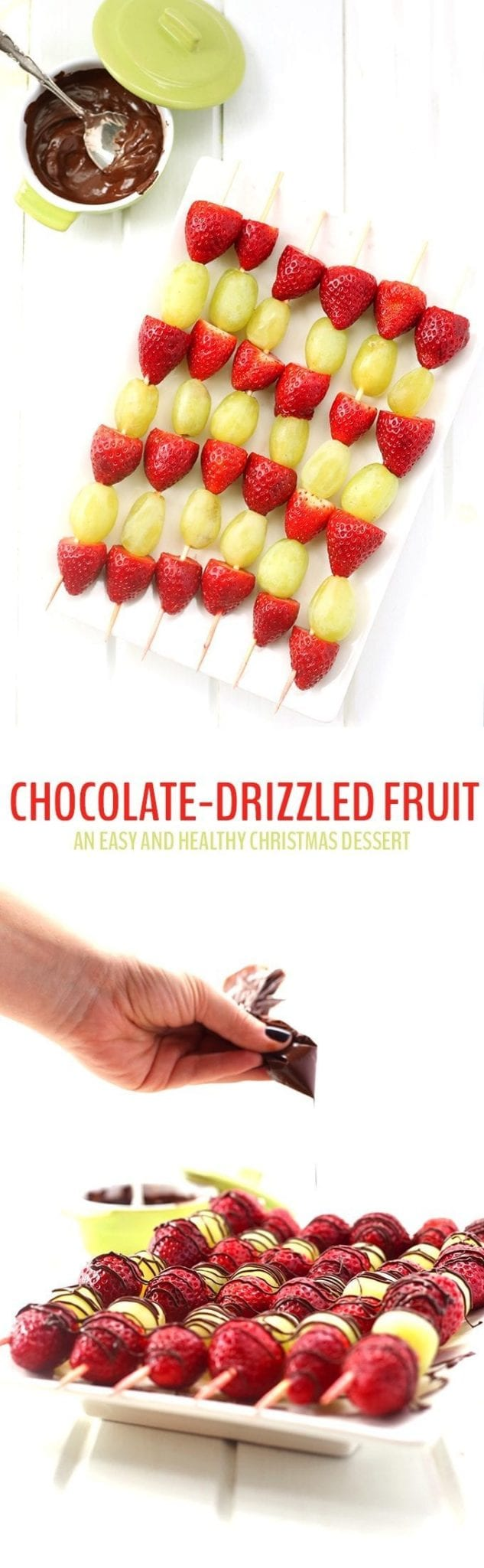 Need a last minute Christmas dessert? Whip up a platter of this Chocolate-Drizzled Christmas Fruit! Just 3 ingredients necessary to a healthy and easy dessert recipe for Christmas!