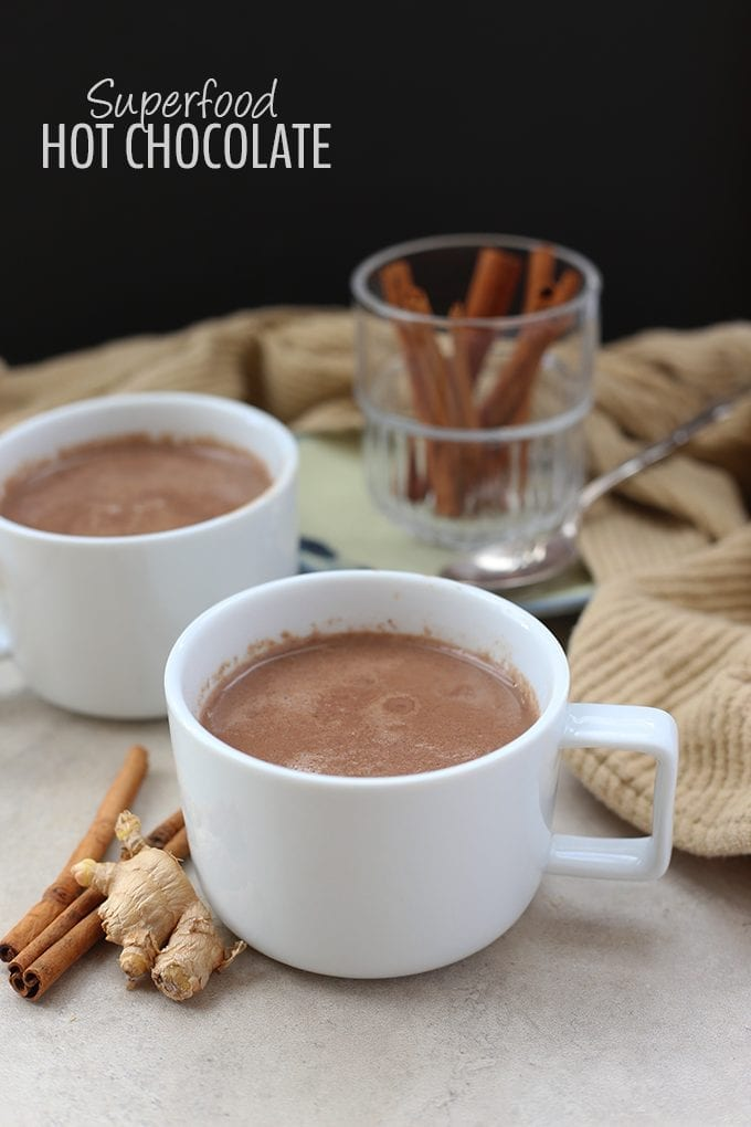This Superfood Hot Chocolate is packed-full of immune-boosting, antioxidant-filled ingredients that make for one heck of cup of hot cocoa! From coconut, to turmeric and the sweetness of raw honey, this is a hot chocolate recipe you can feel good about drinking.