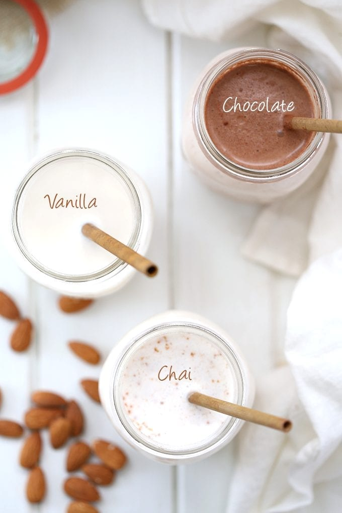 An easy video tutorial on how to make homemade almond milk, 3 different ways! From classic vanilla, to spicy chai and decadent chocolate, this step-by-step tutorial will teach you how.