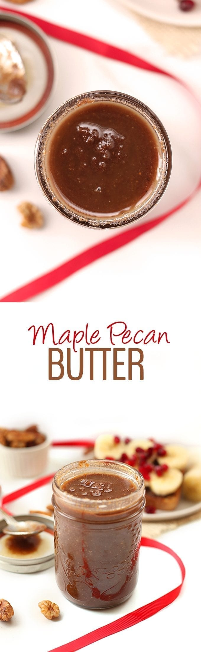 Nut butter is easier to make than you think! This seasonal Maple Pecan Butter is insanely delicious on its own but also perfect on top of oatmeal, toast or in smoothies. The possibilities for this recipe are endless!