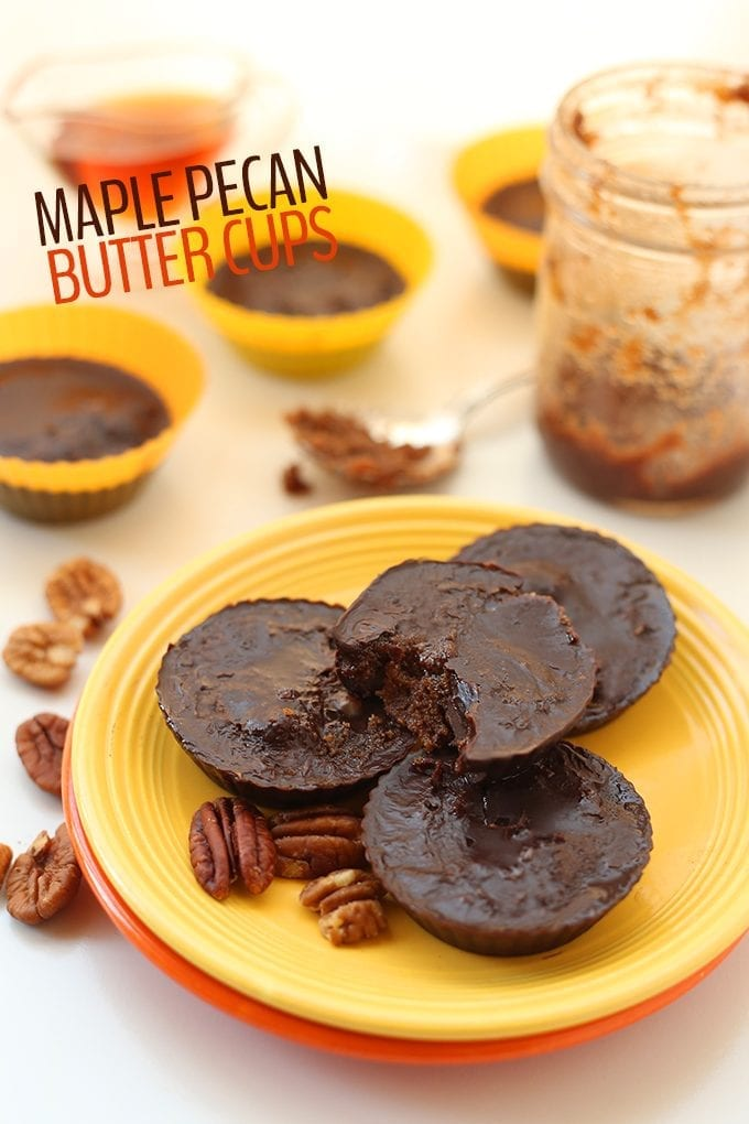 Ditch the reese's peanut butter cups in favor of these healthy Maple Pecan Butter Cups! The perfect seasonal dessert recipe for all of your holiday snacking. Plus they're made from just 4 ingredients!