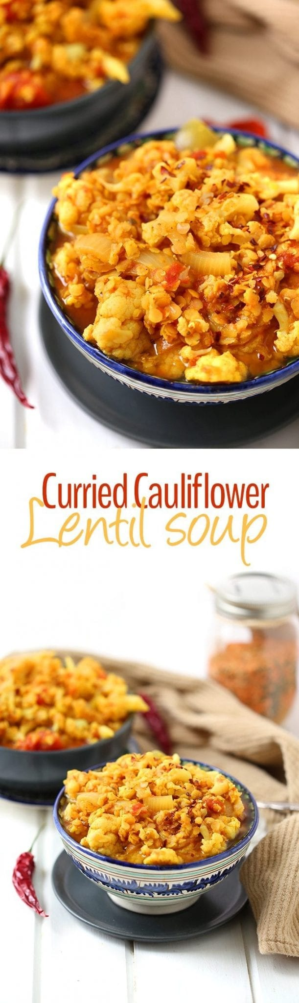 A healthy vegetarian recipe for Curried Cauliflower and Lentil Soup, this dish will quickly become a lunch staple. Just whip up a pot at the beginning of the week and have healthy meals for days!