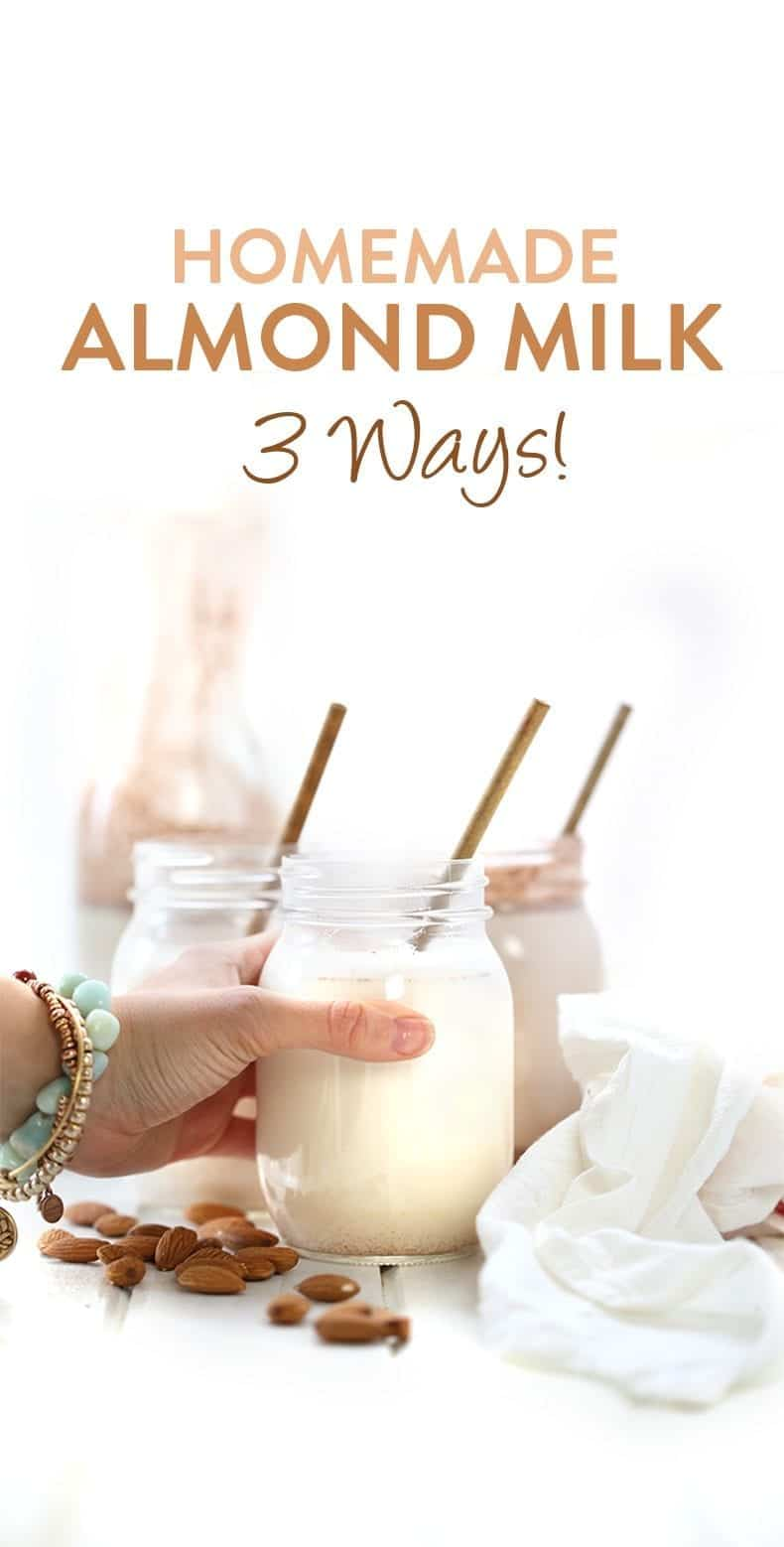 An easy video tutorial on how to make homemade almond milk, 3 different ways! From classic vanilla, to spicy chai and decadent chocolate, this step-by-step tutorial will teach you how #homemadealmondmilk #almondmilk #diyalmondmilk
