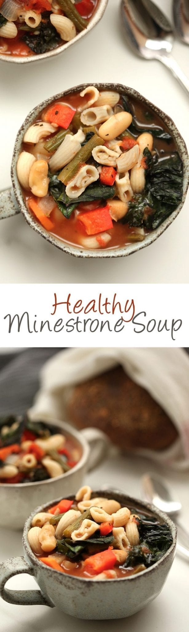 A one-pot meal, ready in 40 minutes with this Healthy Minestrone Soup! This gluten and dairy-free soup is packed-full of veggies and protein for a filling and delicious weekday lunch or dinner recipe.