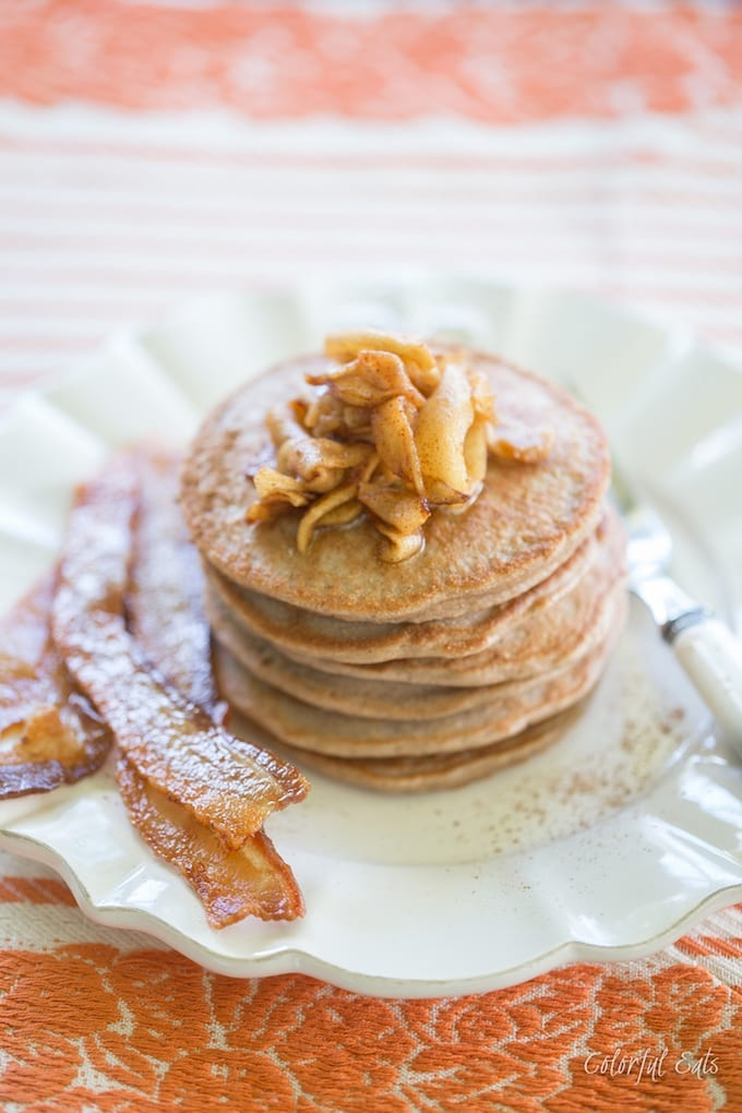 Paleo+Spiced+Chestnut+Flour+Pancakes+with+Cinnamon+Apple+Maple+Syrup+by+Colorful+Eats