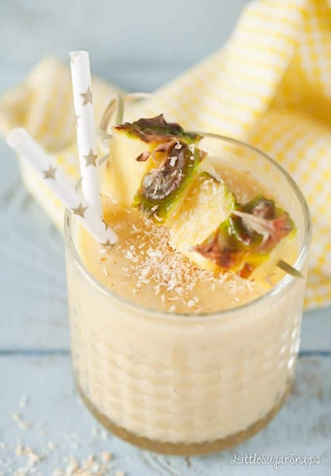 A glass of pineapple and coconut smoothie