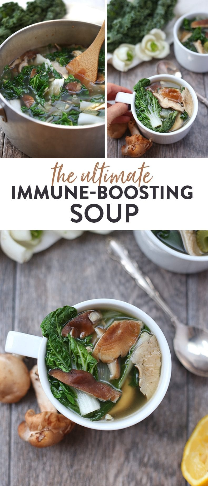 Feeling under the weather? Kick that cold or flu to the curb with the ultimate immune-boosting soup. Packed full of vitamins and minerals from delicious ingredients like turmeric, kale and bok choy in a mushroom broth for a healthy vegetarian soup recipe #immuneboosting #immuneboostingsoup #vegansoup