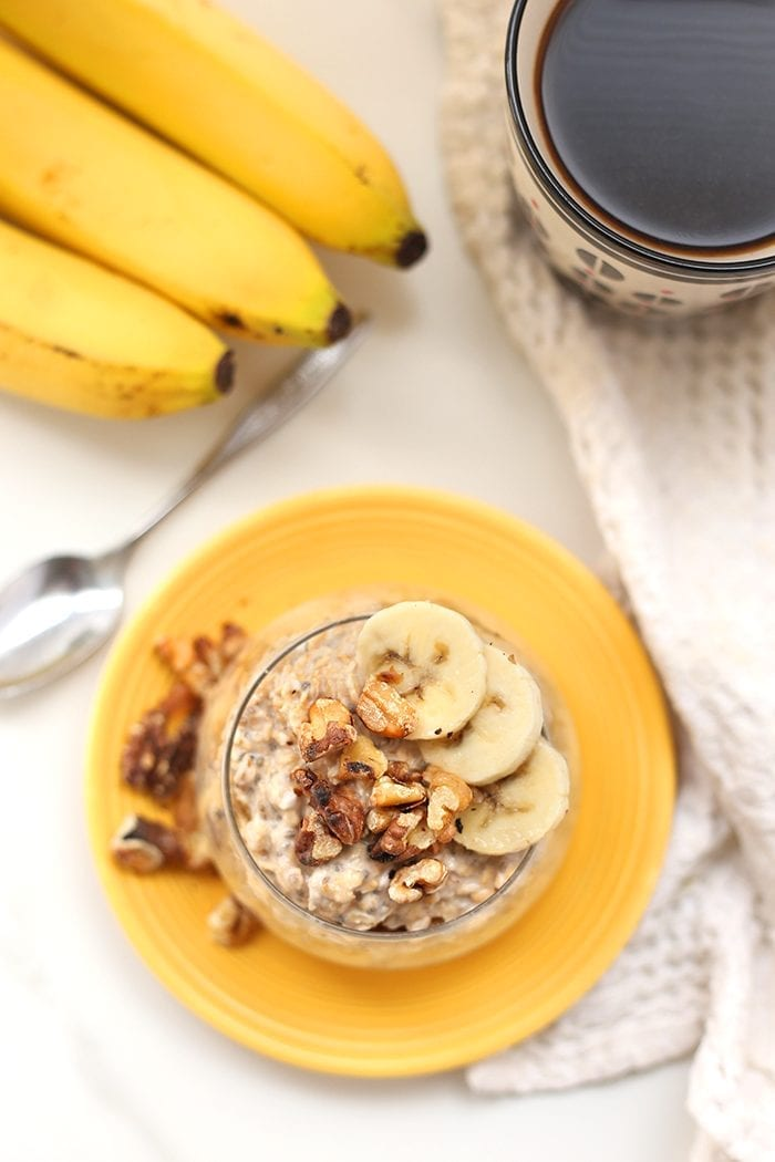 Prep your breakfast in 5 minutes or less with these Banana Nut Overnight Oats. Pop them in the fridge overnight for an easy, healthy and nutritious breakfast waiting for you in the morning.
