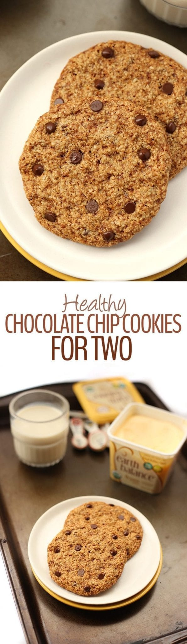 Ever find yourself tempted by that huge batch of cookies? No need to worry with these Healthy Chocolate Chip Cookies for Two! Each batch makes two cookies made from wholesome ingredients that are vegan and gluten-free.