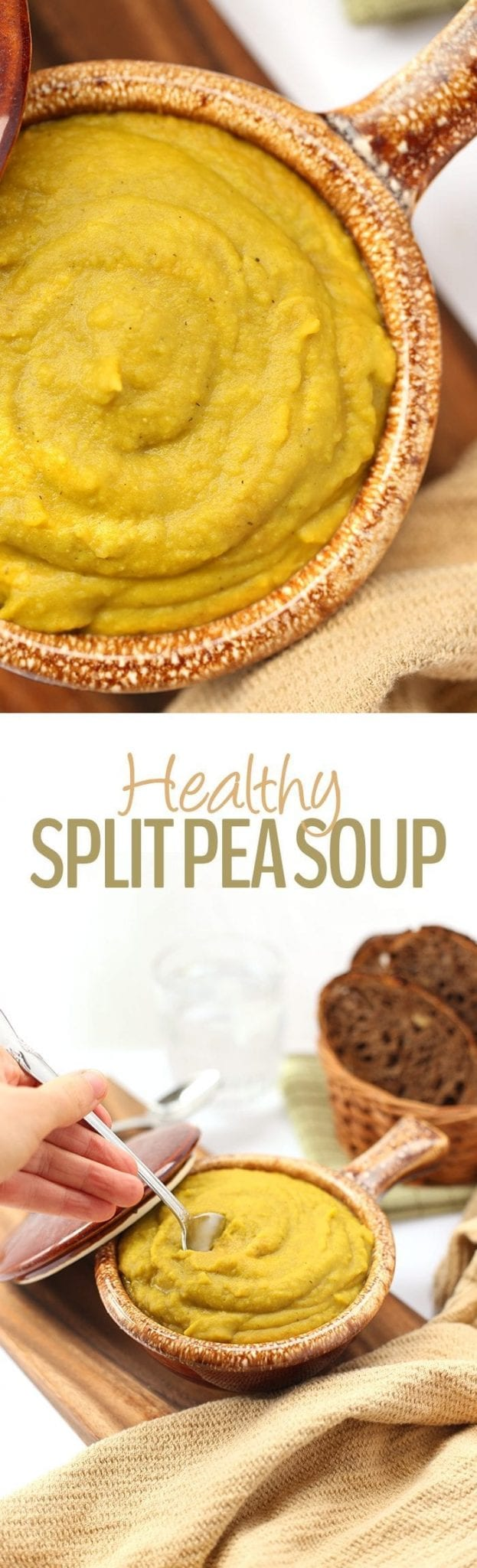This creamy and hearty Healthy Split Pea Soup is packed full of vegetables and plant-based protein for a delicious meal in one! A healthy soup recipe ready in 40 minutes or less.