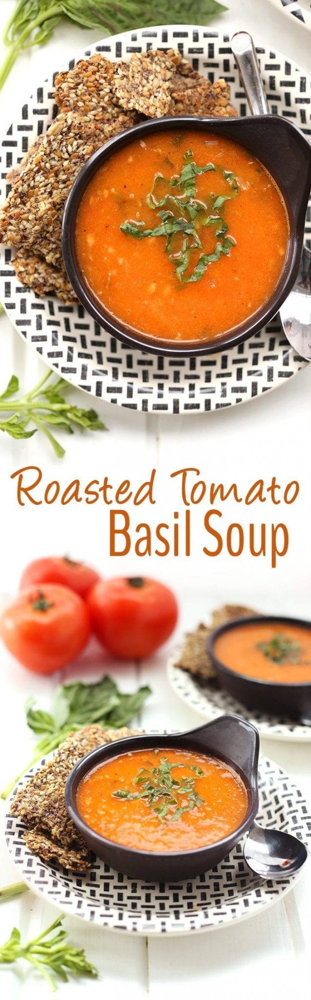 Comfort food at its finest with this easy, healthy and flavorful Roasted Tomato Basil Soup. Simple ingredients and simple instructions are all you need for a warm bowl of this delicious soup recipe.